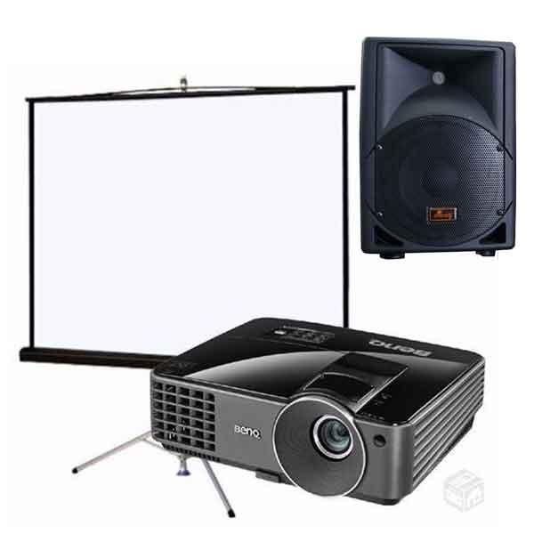 kit telão, projetor e caixa de som
